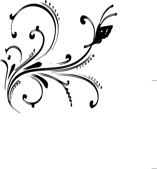 Black And White Floral Design With Butterfly Clip Art at Clkercom
