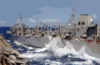 Waves Crash Between Ships As The Fast Combat Support Ship Uss Sacramento (aoe 1) Transfers Fuel And Cargo To The Aircraft Carrier Uss Carl Vinson During An Underway Replenishment. Clip Art
