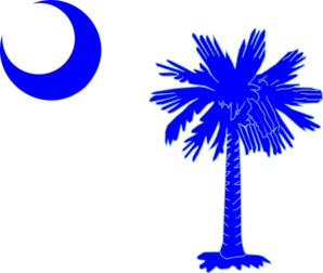 Sc Palmetto Tree - Blue Clip Art