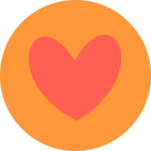 Coral Heart In Circle Clip Art