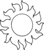 Sun With Rays Outline Clip Art