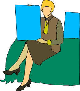 Woman Sitting Cartoon Clip Art