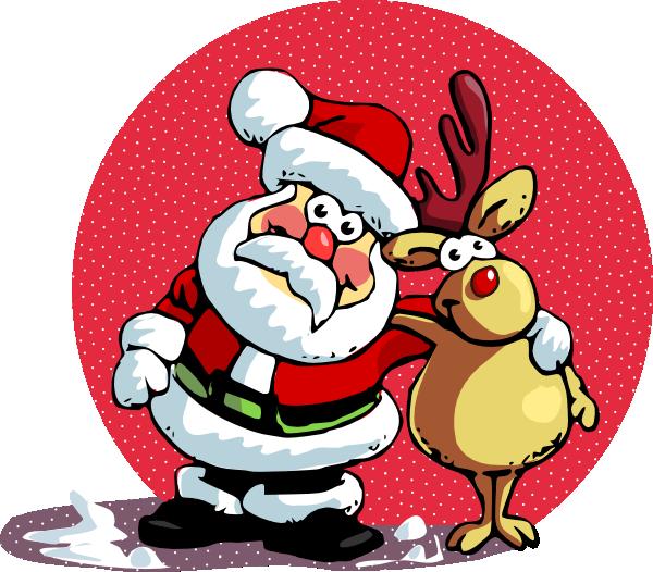 Santa clause and ruldoph clip art at vector - Dessins de noel en couleur ...