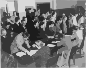 Residents Of Japanese Descent Registering For Evacuation At The Wartime Civil Control Administration Station, San Francisco, April, 1942 Clip Art