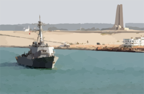 The Guided Missile Destroyer Uss Mitscher (ddg 57) Passes A Memorial Built In Recognition Of The Defense Of The Suez Canal From 1914-1918 While Transiting The Suez Canal Clip Art