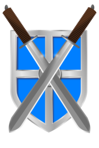 Swords And Light Blue Shield Clip Art