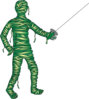 Green Fencing Mummy Clip Art