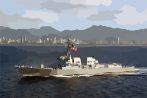 The Newly Commissioned Guided Missile Destroyer Uss Chafee (ddg 90) Sails Into Her New Homeport Of Pearl Harbor, Hawaii. Clip Art