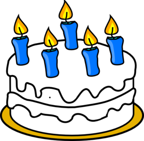 Birthday Cake With Blue Lit Candles Clip Art