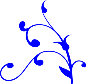 Bright Blue Leaves And Swirls Clip Art