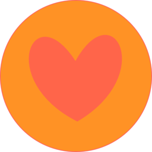 Coral Heart In Orange Circle  Clip Art
