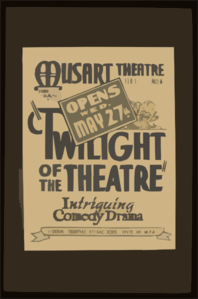Twilight Of The Theatre  Intriguing Comedy Drama. Clip Art