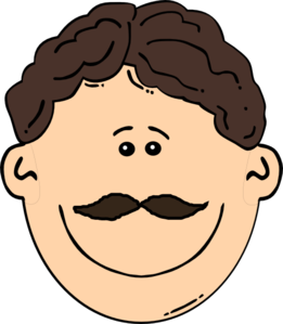Smiling Brown Hair Man With Mustache Clip Art