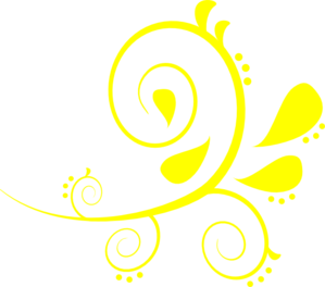 Paisley Curves Bright Yellow Clip Art