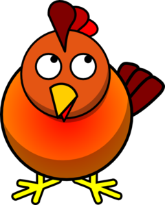 Chicken Looking Up Left Clip Art