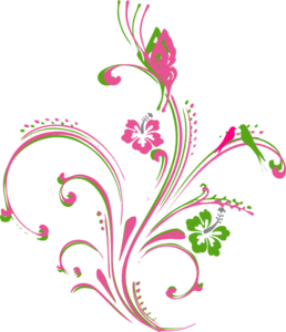 Pink Green Butterfly Scroll Clip Art