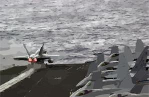 An Fa-18a Hornet  Launches From The Flight Deck. Clip Art