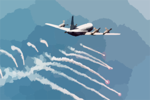 A P-3c  Orion  Attached To Patrol Squadron 45 (vp-45) Fires Self-defensive Flares In Preparation For An Over Land  Electro-optical (eo) Surveillance Mission In Bosnia-herzegovina Clip Art