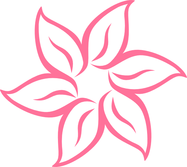 Pink Flower Line Drawing : Simple pink flower clip art at clker vector