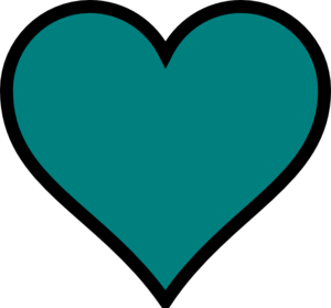 Teal Heart Clip Art Teal, Heart, Black, De...