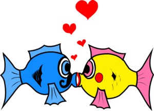 Kissing Fish With Hearts Clip Art