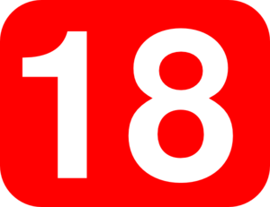 Number 18 Red Background Clip Art
