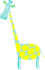 Giraffe Teal With Yellow Dots Clip Art