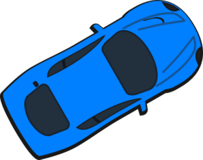 Blue Car - Top View - 30 Clip Art
