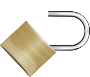 Open Padlock 45 Degree Right Angle Clip Art