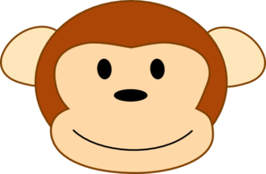 Smiling Brown Monkey Head, Brown Border Clip Art