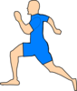 Man Running In Light Blue Clip Art