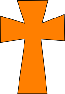 Medieval Cross Orange Black Clip Art