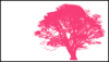 Tree, Dark Pink Silhouette, White Background Clip Art