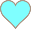 Think Line Turquoise And Brown Heart Clip Art