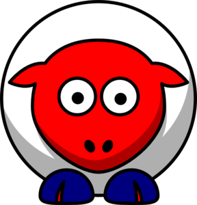Sheep Looking Straight White With Red Face And Red Nails Clip Art