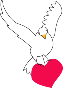 White Dove With Heart Clip Art