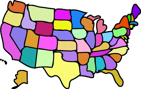 Cartoony Colored Usa Map Clip Art At Clkercom Vector Clip Art - Us map colored by region
