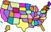 Cartoony Colored Usa Map Clip Art