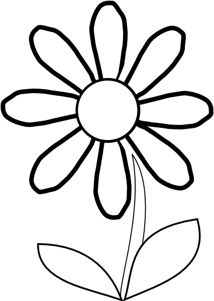 white daisy with stem clip art at clker com vector clip art online rh clker com clipart black and white of flowers flower black and white clip art free