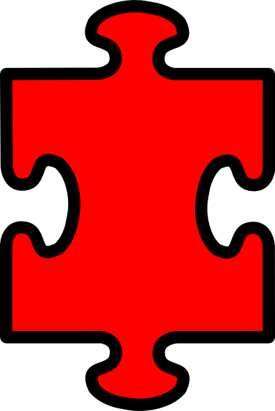 Puzzle Piece Red With Black2 Clip Art at Clker.com ...