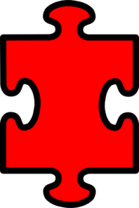 Puzzle Piece Red With Black2 Clip Art