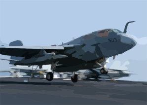 An Ea-6b Prowler Lands On The Flight Deck Aboard Uss Theodore Roosevelt Clip Art