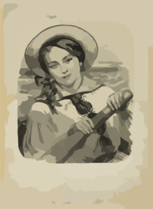 Young Woman Rowing Clip Art