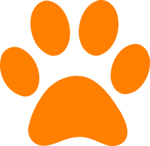 Orange Paw Print - No Back Clip Art