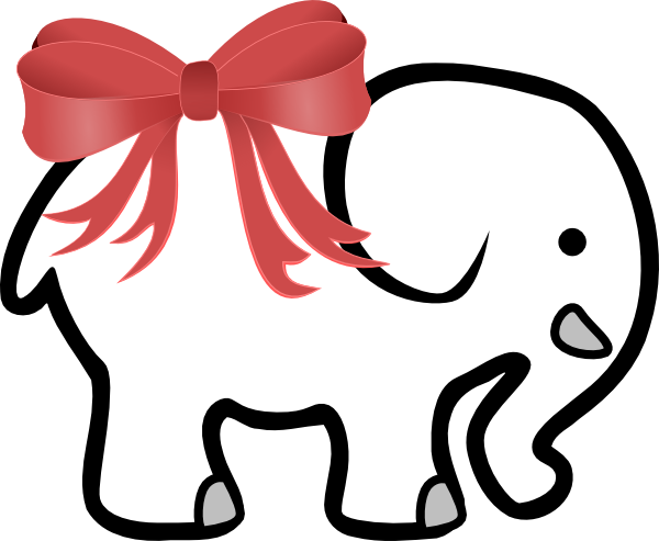 white elephant with red bow clip art at clker com vector clip art rh clker com