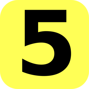 Yellow Rounded Number 5 Clip Art
