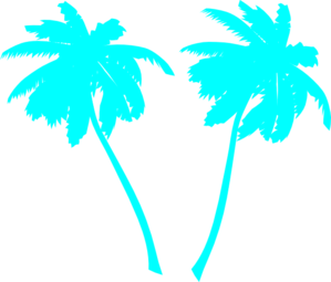 Vector Palm Trees Blue Clip Art
