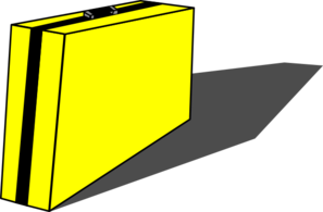 Yellow Briefcase With Black Stripe Clip Art