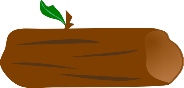 Brown log with green leaf clip art at clker vector