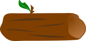 Brown Log With Green Leaf Clip Art